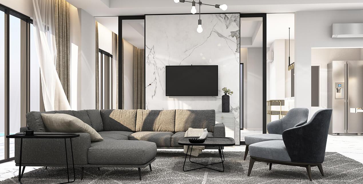 Nowoczesny pokój dzienny - Home Designers